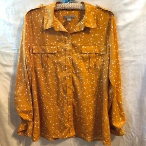 Banana Republic Mustard Star Print Top